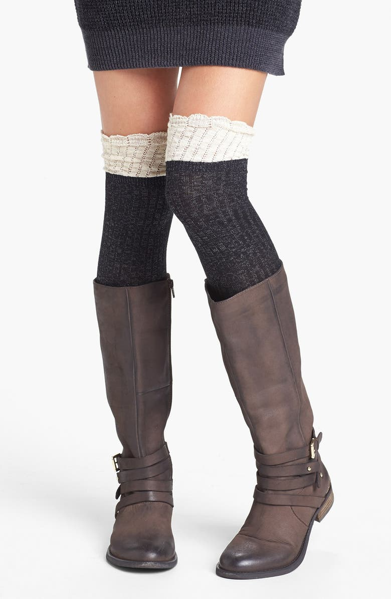 BP. Colorblock Over the Knee Socks, Main, color, CHARCOAL/ CREME