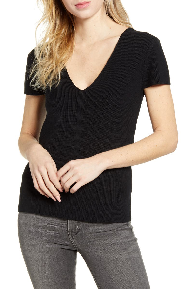 CHELSEA28 Ribbed V-Neck Sweater, Main, color, 001