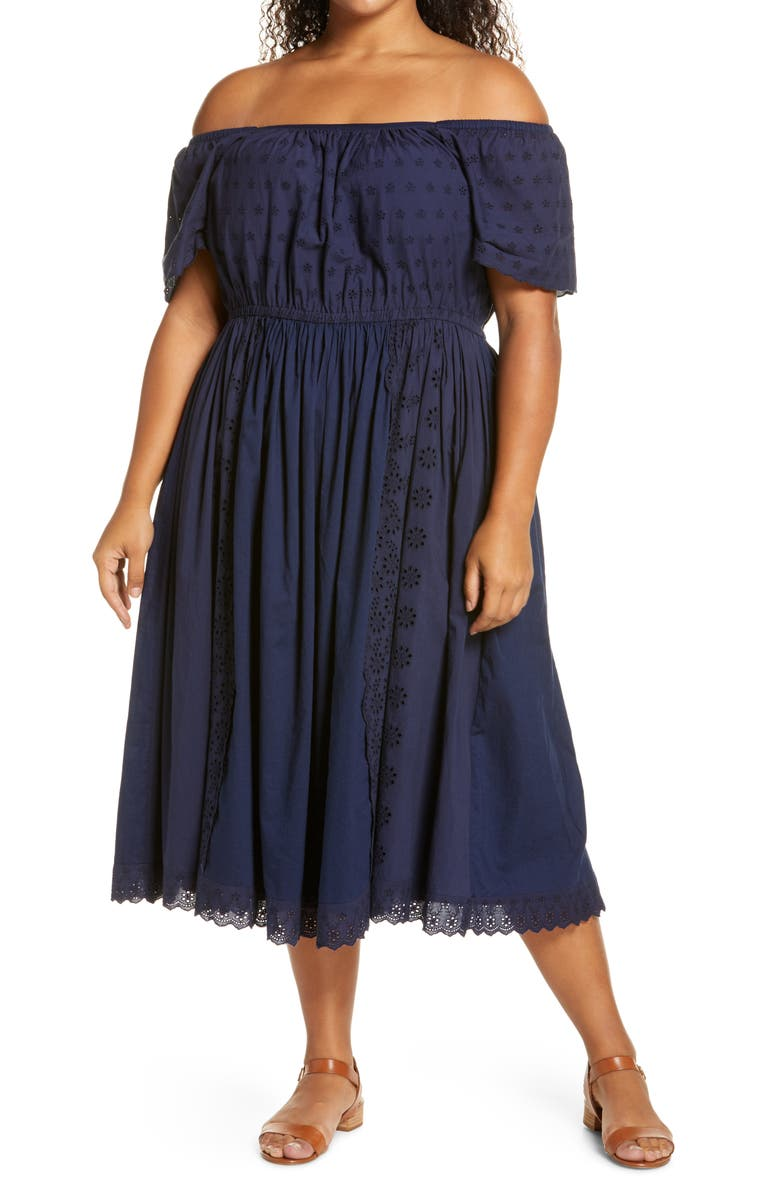 CASLON<SUP>®</SUP> Off the Shoulder Eyelet Dress, Main, color, NAVY PEACOAT