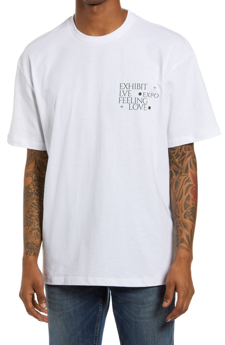 TOPMAN Exhibit Print Men's Graphic Tee, Main, color, 100