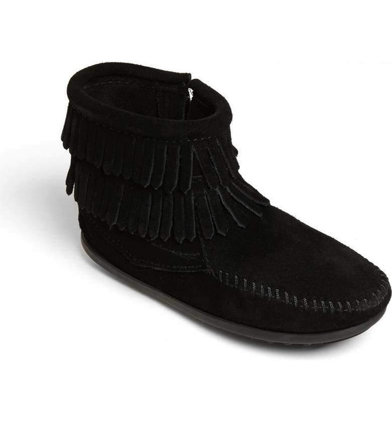 MINNETONKA 'Double Fringe' Boot, Main, color, 001