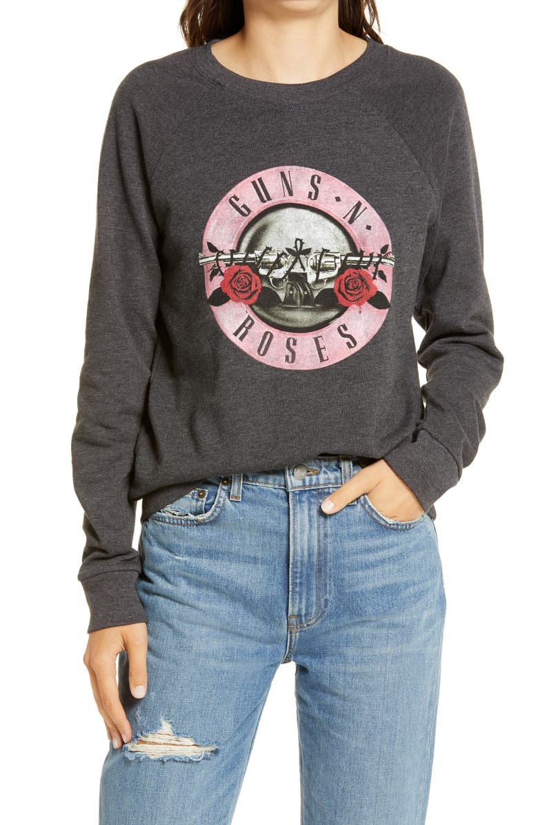 TREASURE & BOND Band Graphic Sweatshirt, Main, color, BLACK ROCK N ROLL
