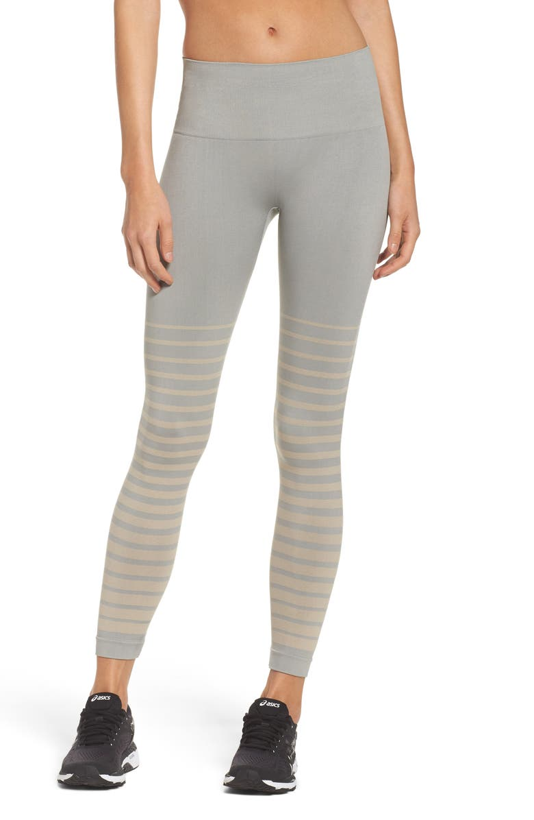 CLIMAWEAR Front Runner High Waist Leggings, Main, color, WILD DOVE AND PINK TINT