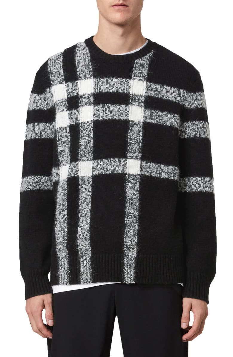 ALLSAINTS Arkade Crewneck Sweater, Main, color, BLACK