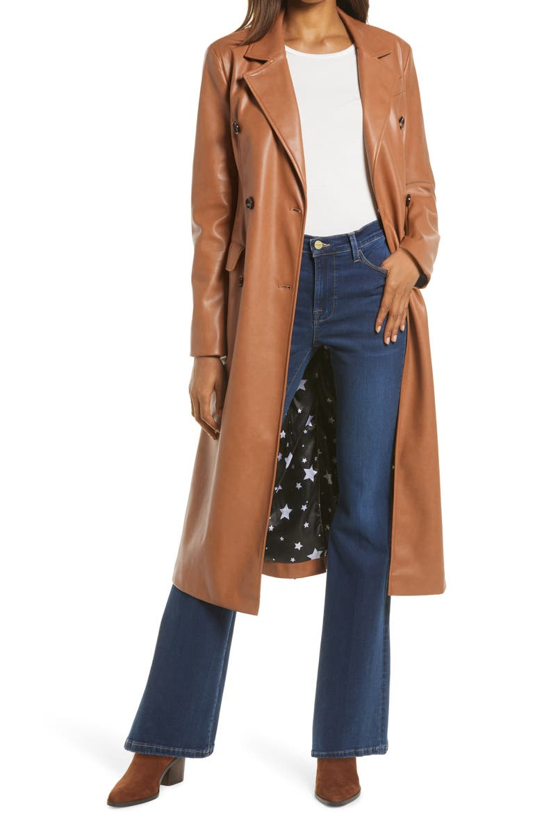 AVEC LES FILLES Double Breasted Faux Leather Trench Coat, Main, color, CAMEL