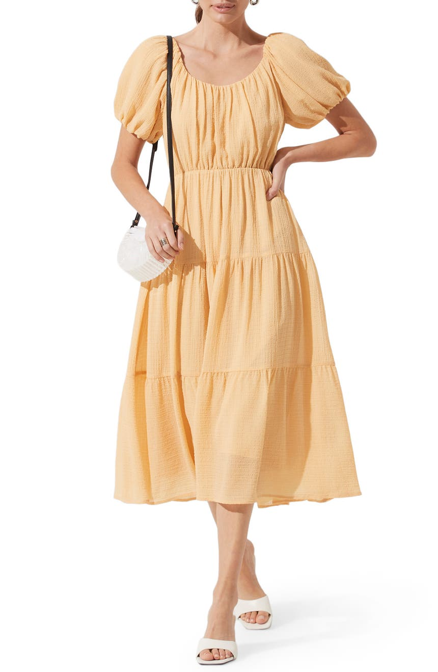 ASTR THE LABEL Tiered Short Sleeve Dress, Main, color, YELLOW