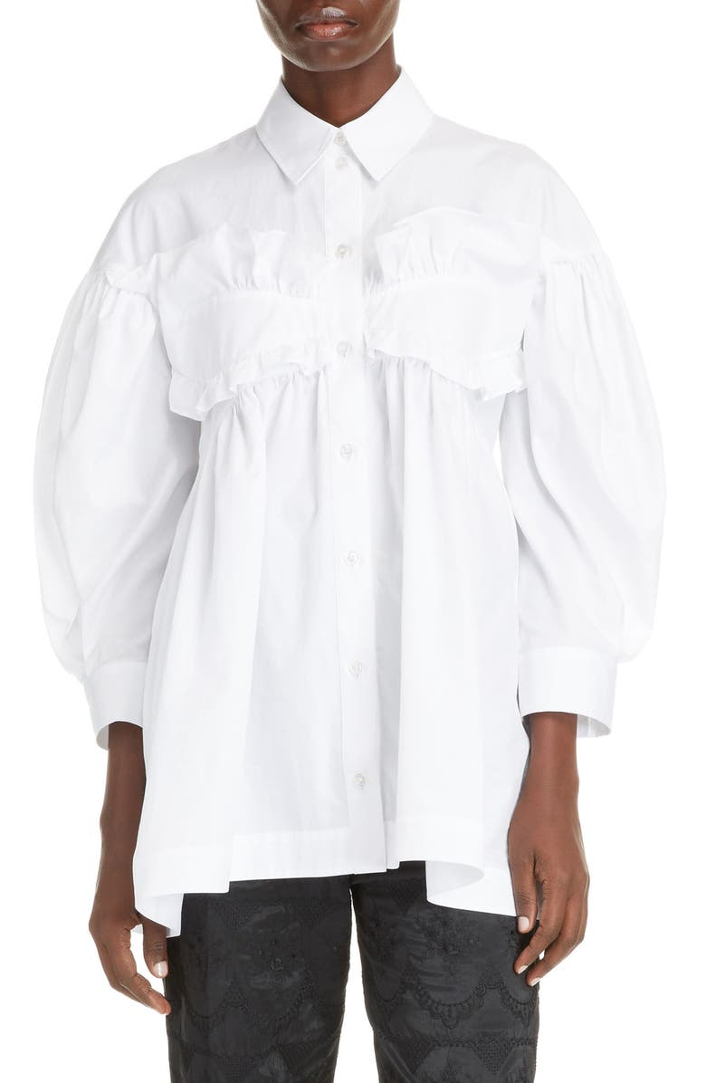 SIMONE ROCHA Cotton Poplin Ruffle Shirt, Main, color, 100