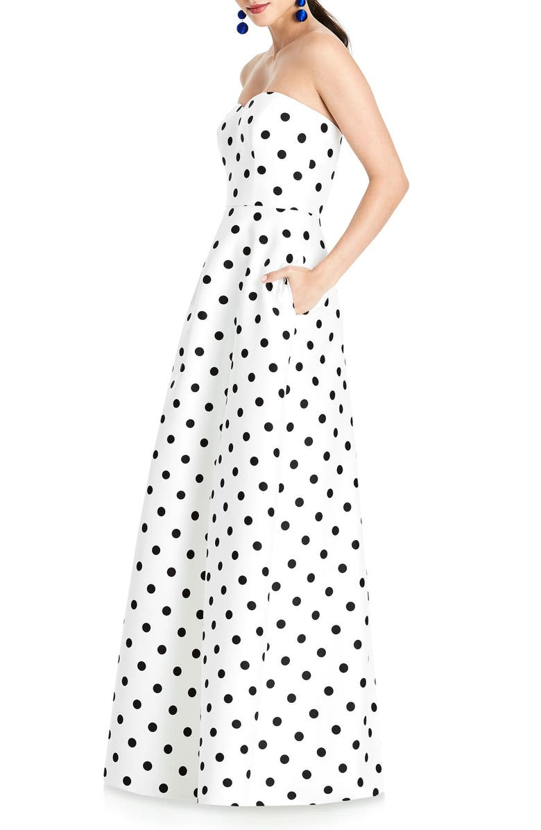 ALFRED SUNG Strapless Dot Sateen Gown, Main, color, 102