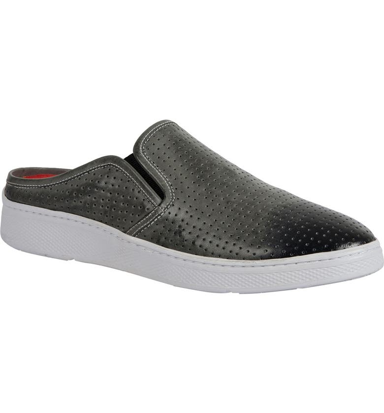 SANDRO MOSCOLONI Perforated Plain Toe Leather Slip-On Sneaker, Main, color, GREY