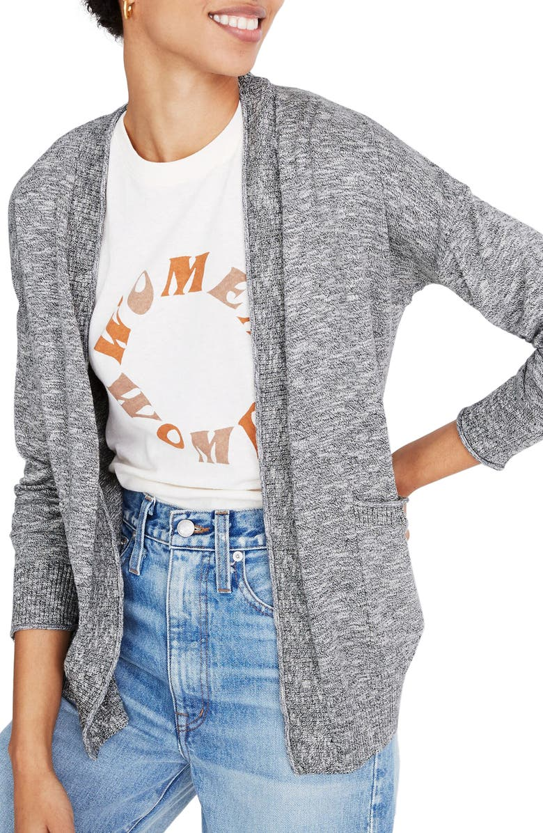 MADEWELL Hot Springs Cardigan, Main, color, MARLED STORM