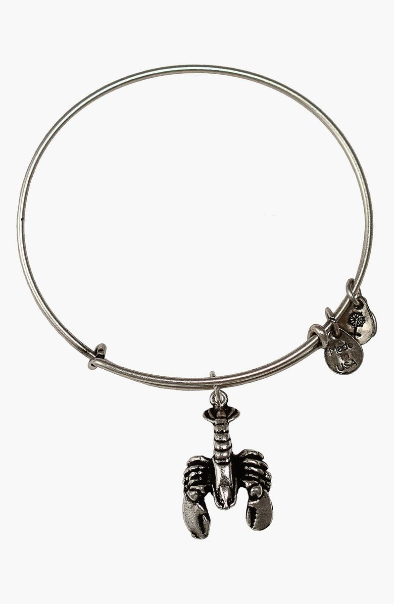 ALEX AND ANI Lobster Expandable Wire Bangle, Main, color, RUSSIAN SILVER