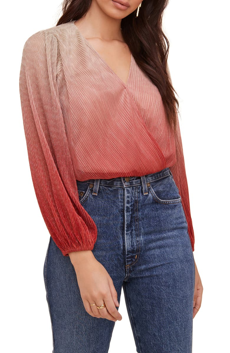 ASTR THE LABEL Pleated Long Sleeve Surplice Top, Main, color, RASPBERRY OMBRE