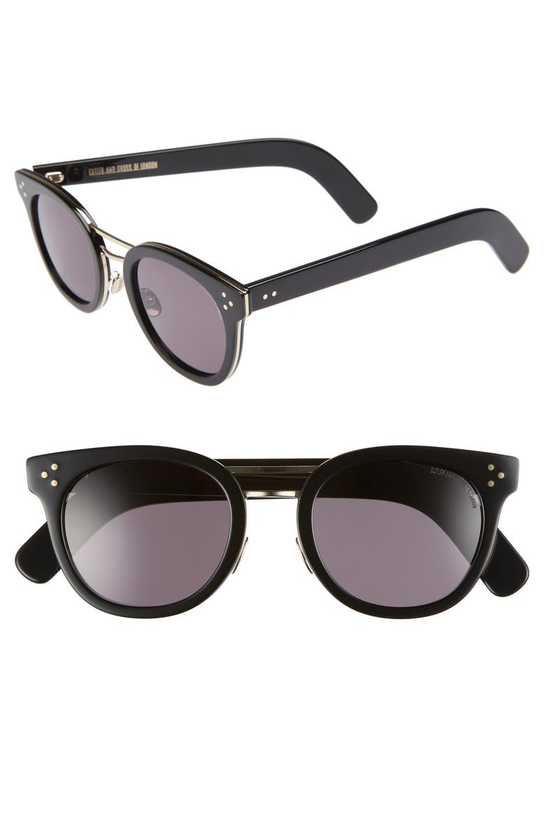 CUTLER AND GROSS 52mm Round Sunglasses, Main, color, 001