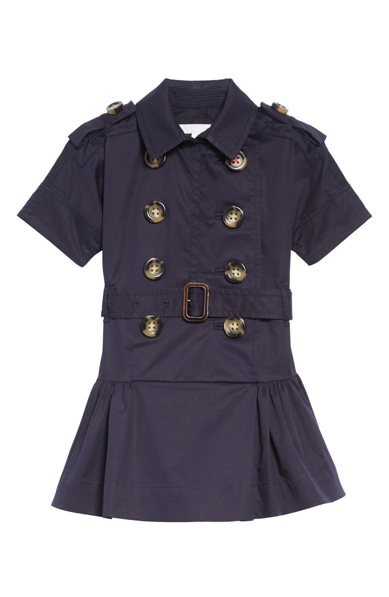 BURBERRY Cynthie Stretch Cotton Trench Dress, Main, color, 400