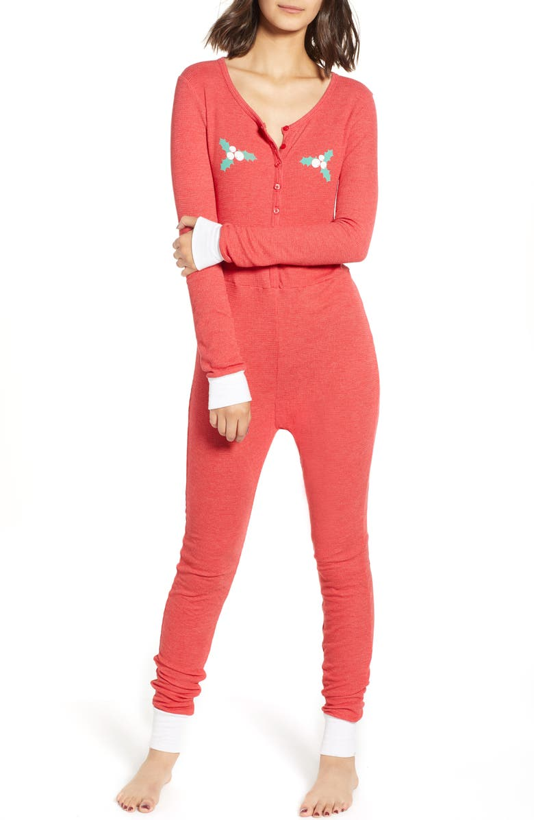 WILDFOX Holiday Fox Jumpsuit, Main, color, SCARLET