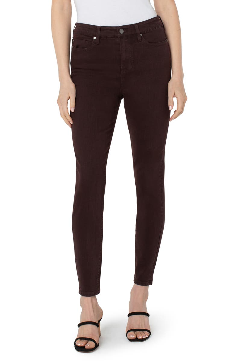 LIVERPOOL Abby High Waist Ankle Skinny Jeans, Main, color, ROOT BEER