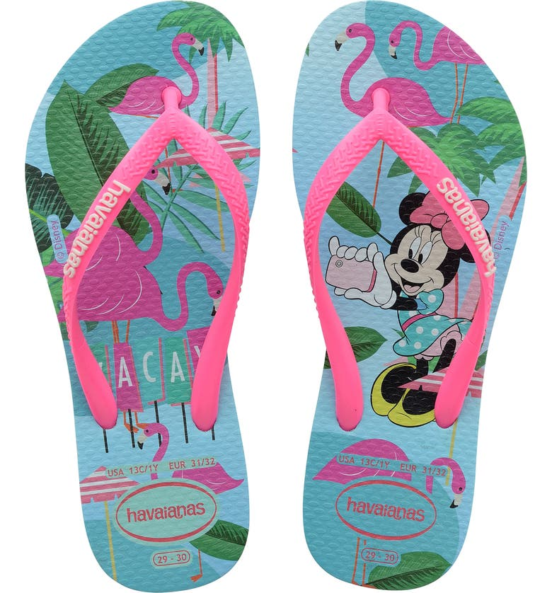 HAVAIANAS 'Disney<sup>®</sup> Minnie Mouse' Flip Flop, Main, color, ICE BLUE/ SHOCKING PINK