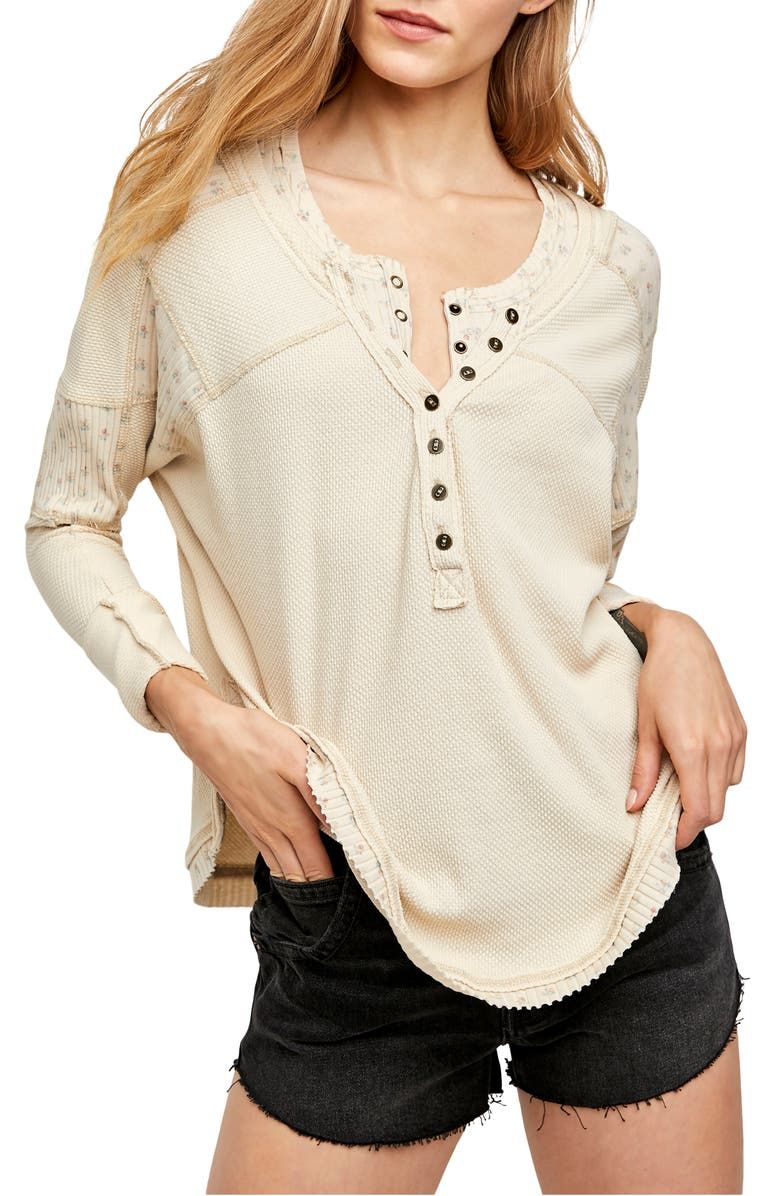 FREE PEOPLE Heart to Heart Henley Top, Main, color, WASHED MUSLIN