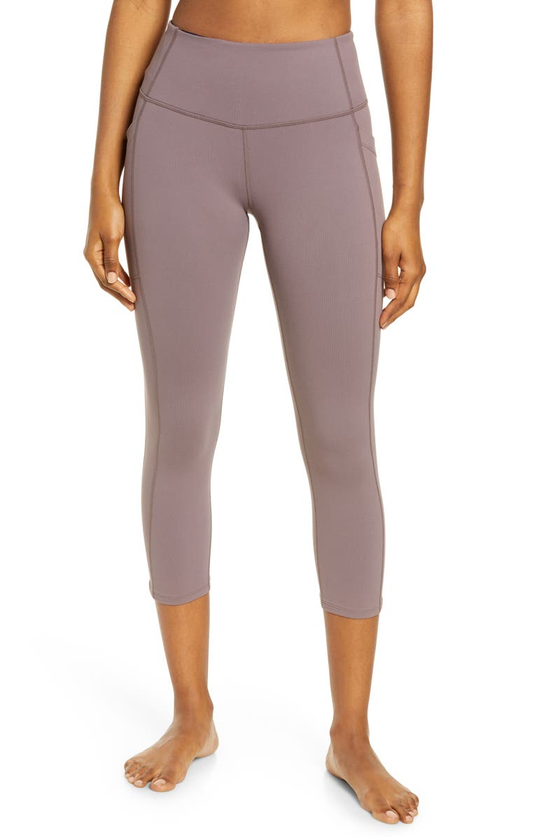 ZELLA Live In High Waist Pocket Crop Leggings, Main, color, GREY SPARROW