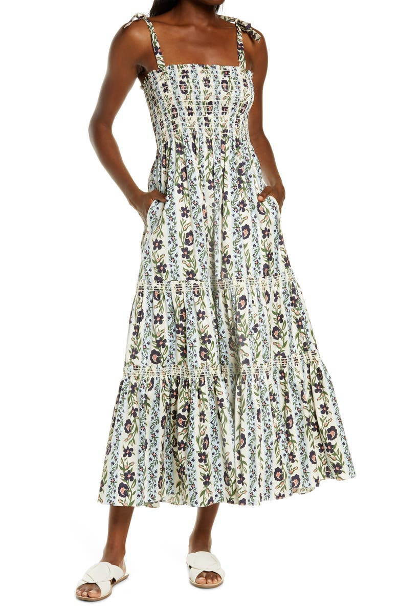 TORY BURCH Floral Print Tie Shoulder Midi Cover-Up Dress, Main, color, CLIMBING VINES
