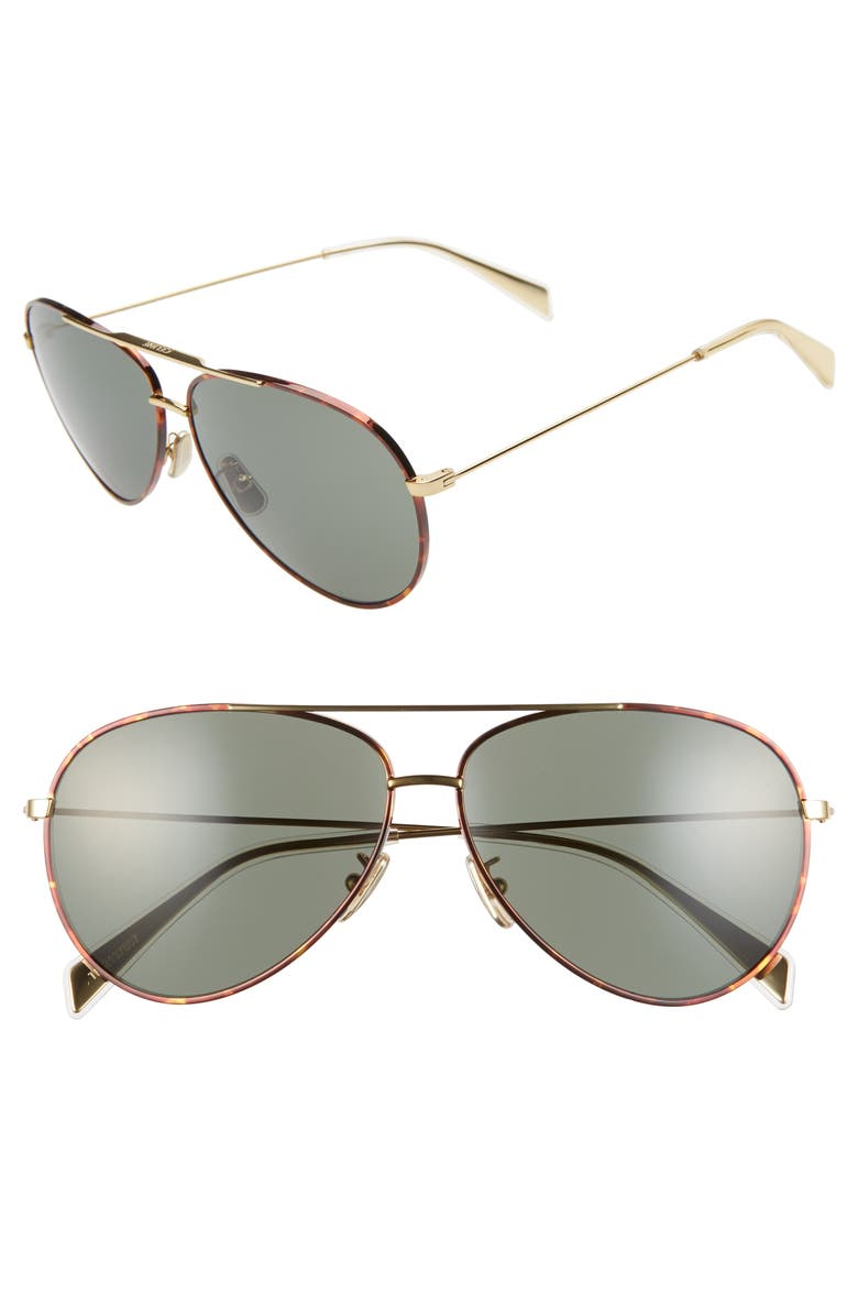 CELINE 61mm Aviator Sunglasses, Main, color, GOLD/ GREEN