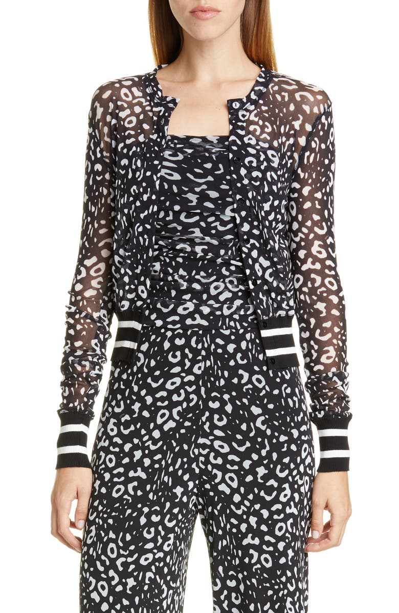 FUZZI Graphic Leopard Print Tulle Bomber Jacket, Main, color, 001
