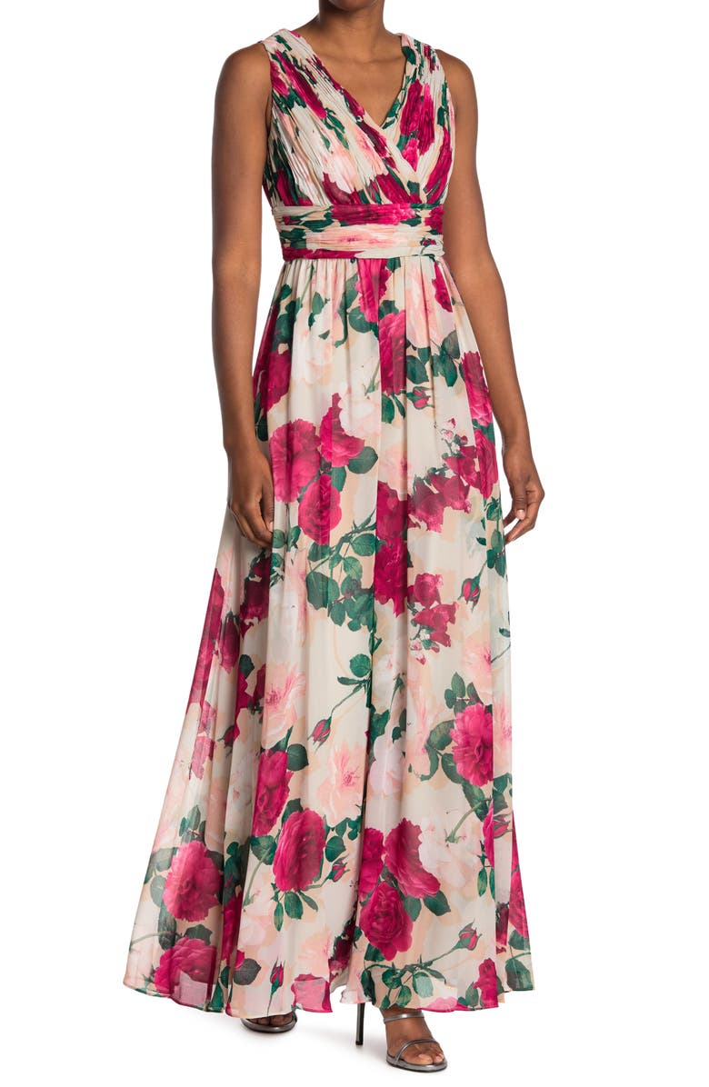 CALVIN KLEIN Floral Pleated Crepe Gown, Main, color, HIBISCUS MULTI