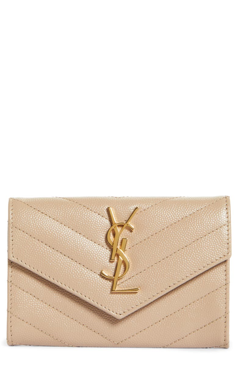 SAINT LAURENT 'Monogram' Quilted Leather French Wallet, Main, color, 200
