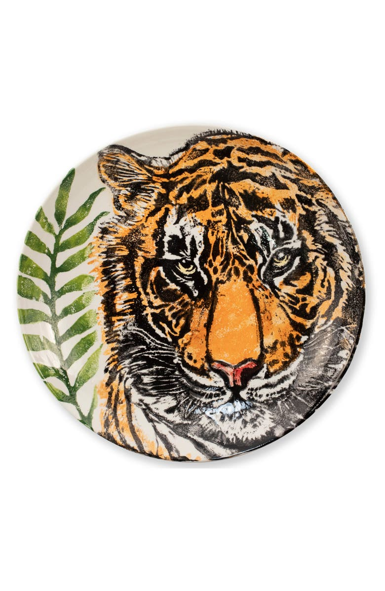 VIETRI Into the Jungle Tiger Shallow Serving Bowl, Main, color, HANDPAINTED