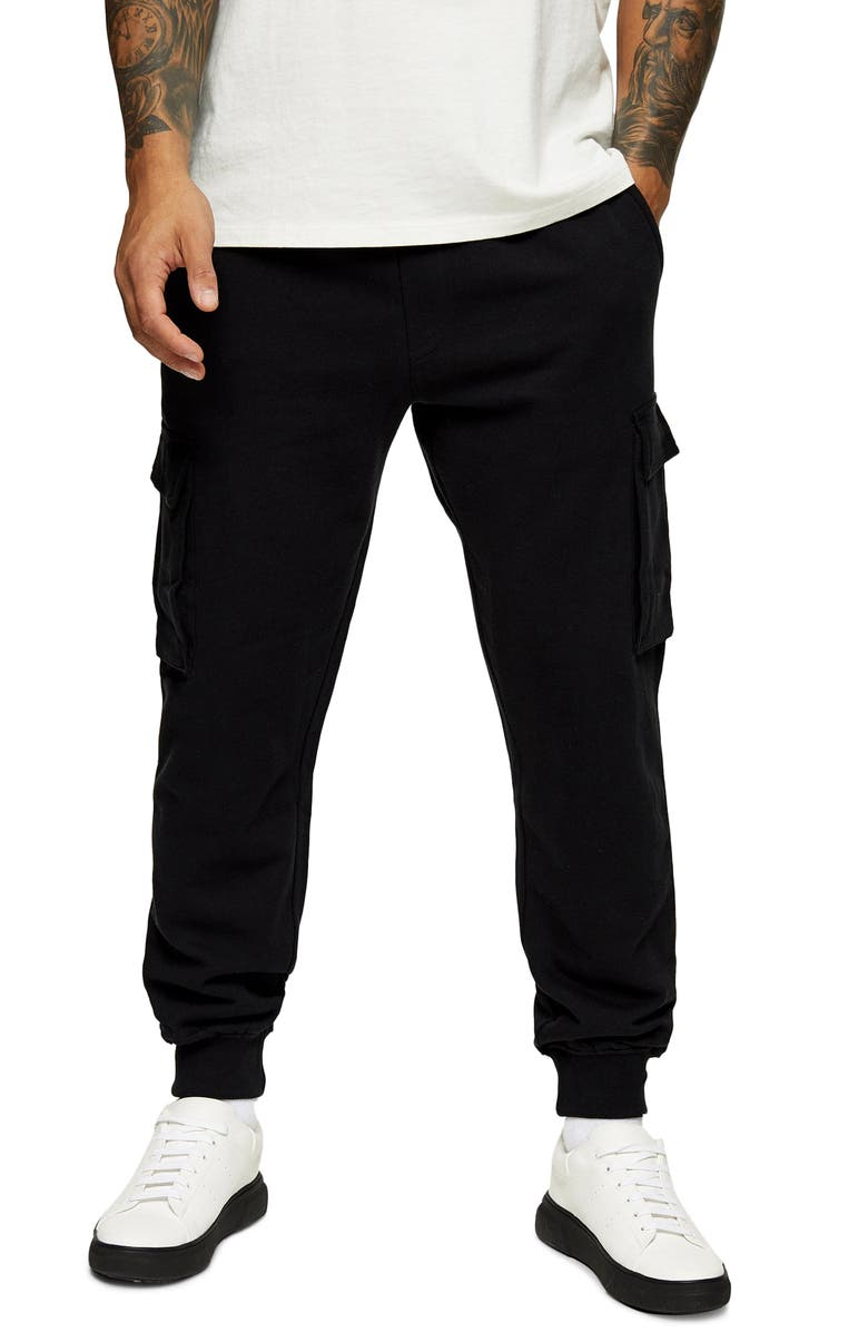 TOPMAN Washed Cargo Joggers, Main, color, 001