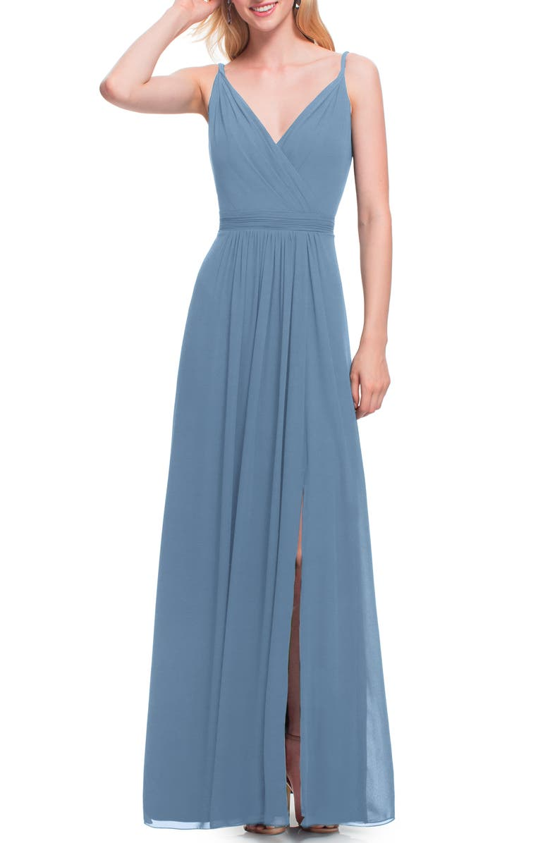 #LEVKOFF Surplice Neck Chiffon A-Line Gown, Main, color, SLATE