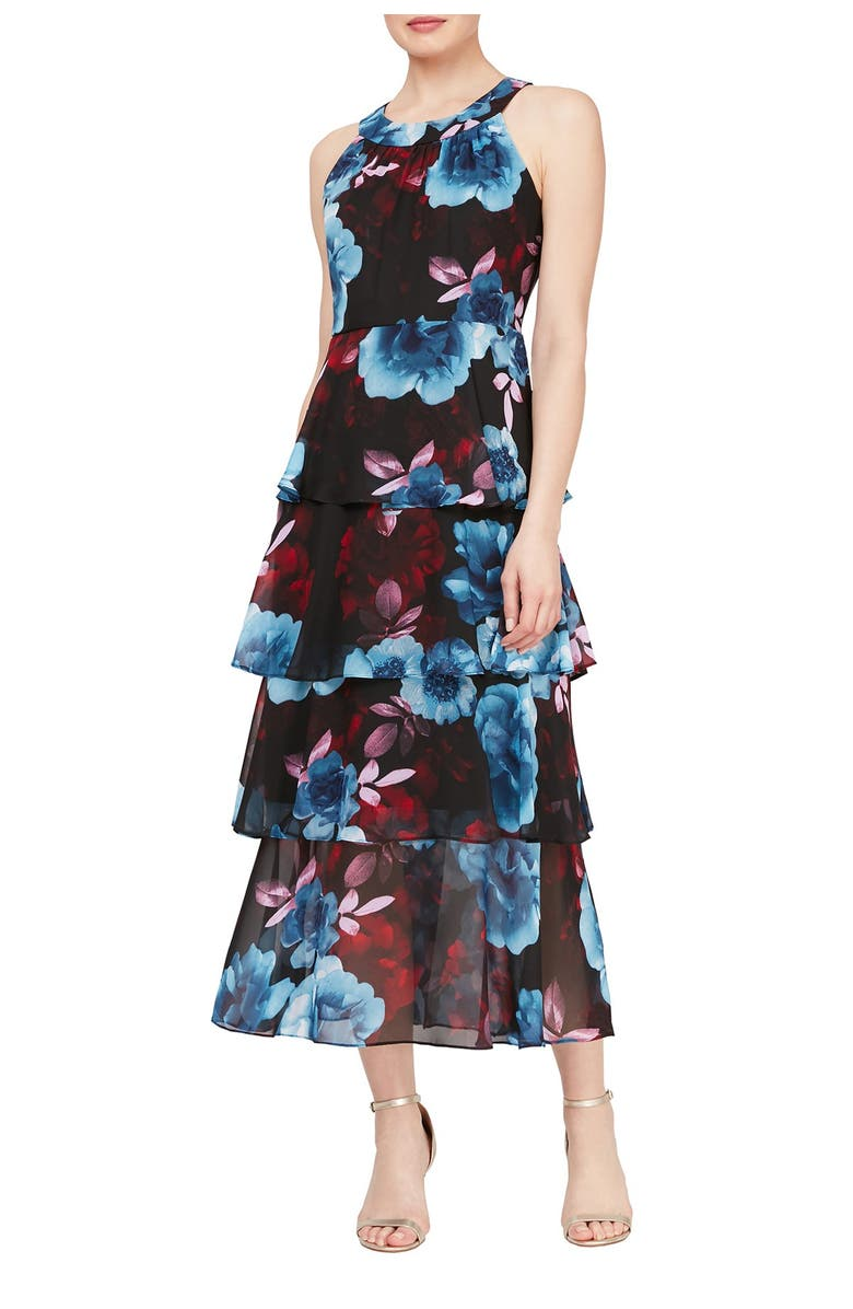 SLNY Tiered Floral Print Maxi Dress, Main, color, BML