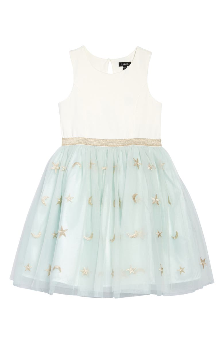 ZUNIE Kids' Embroidered Tulle Dress, Main, color, IVORY/ SAGE