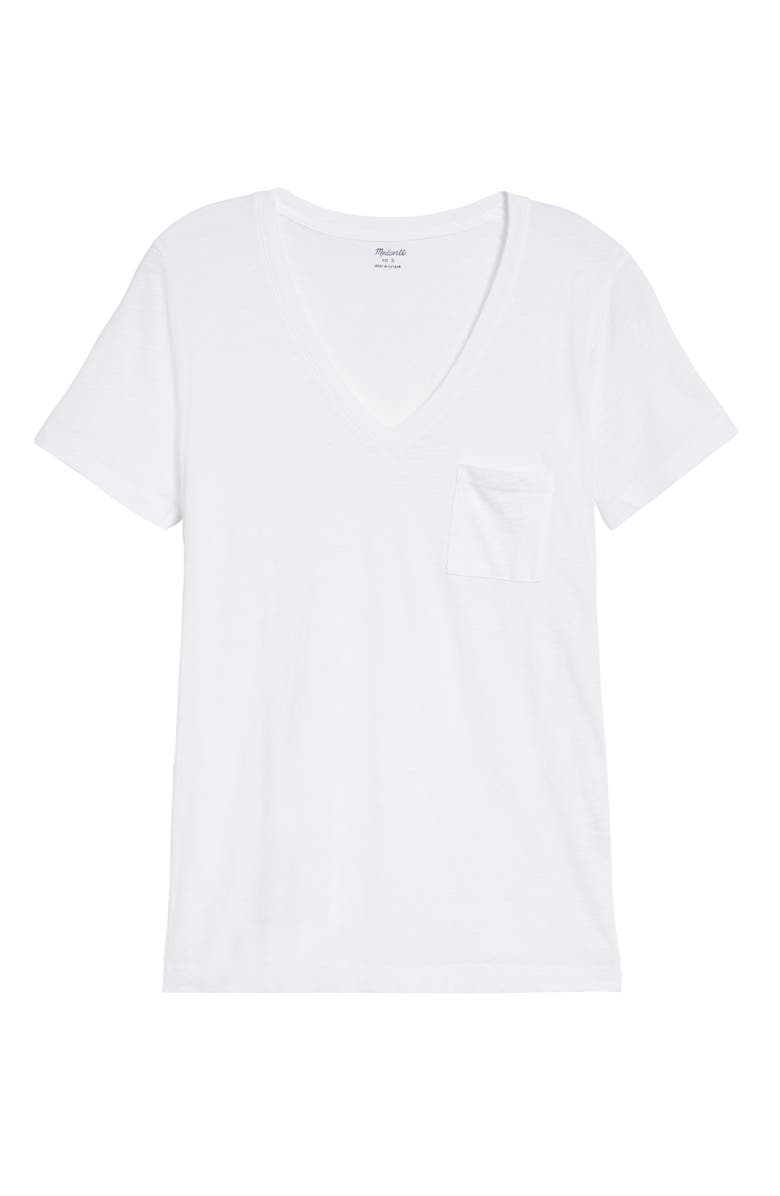 MADEWELL Whisper Cotton V-Neck Pocket Tee, Main, color, 100