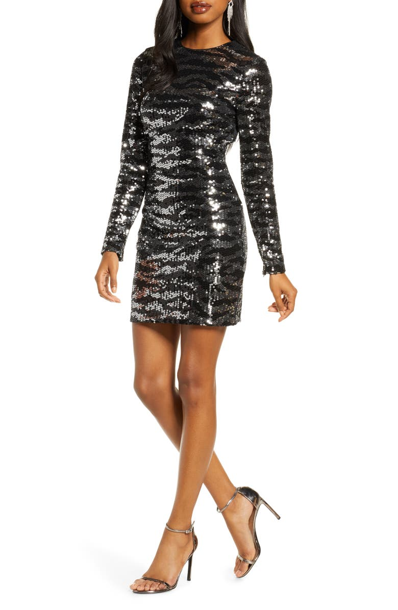 FRENCH CONNECTION Ebba Sequin Tiger Stripe Long Sleeve Sheath Dress, Main, color, 041