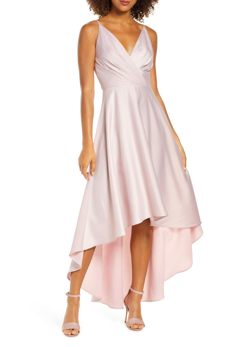 CHI CHI LONDON Lucia Surplice High/Low Satin Gown, Main, color, 680