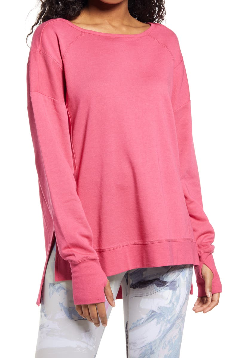 SWEATY BETTY After Class Sweatshirt, Main, color, TAYBERRY PINK