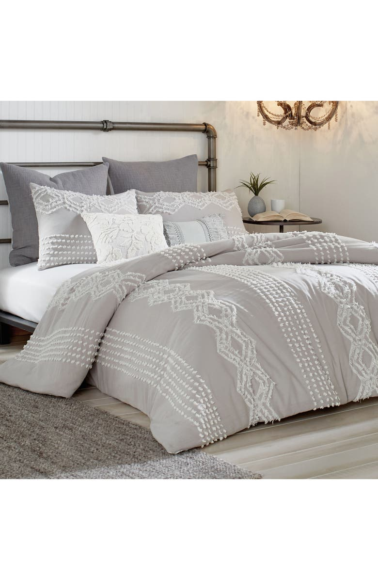 PERI HOME Cut Geo Comforter & Sham Set, Main, color, GREY