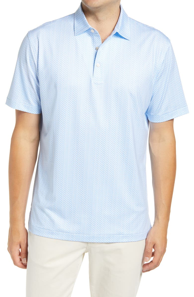 PETER MILLAR Sasser Shades Print Performance Polo, Main, color, WHITE