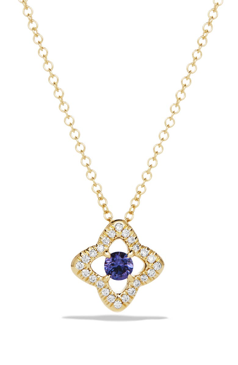 DAVID YURMAN Venetian Quatrefoil Necklace with Diamonds in 18K Gold, Main, color, TANZANITE