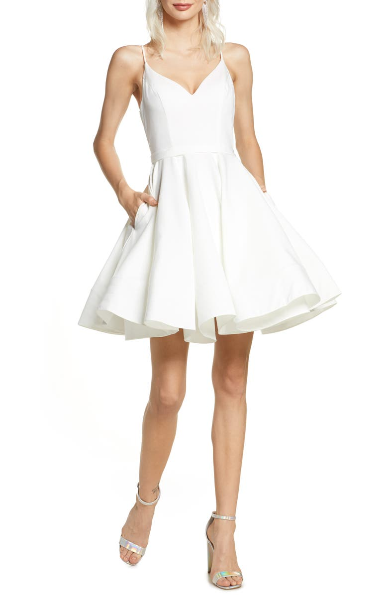 IEENA FOR MAC DUGGAL Fit & Flare Cocktail Dress, Main, color, WHITE