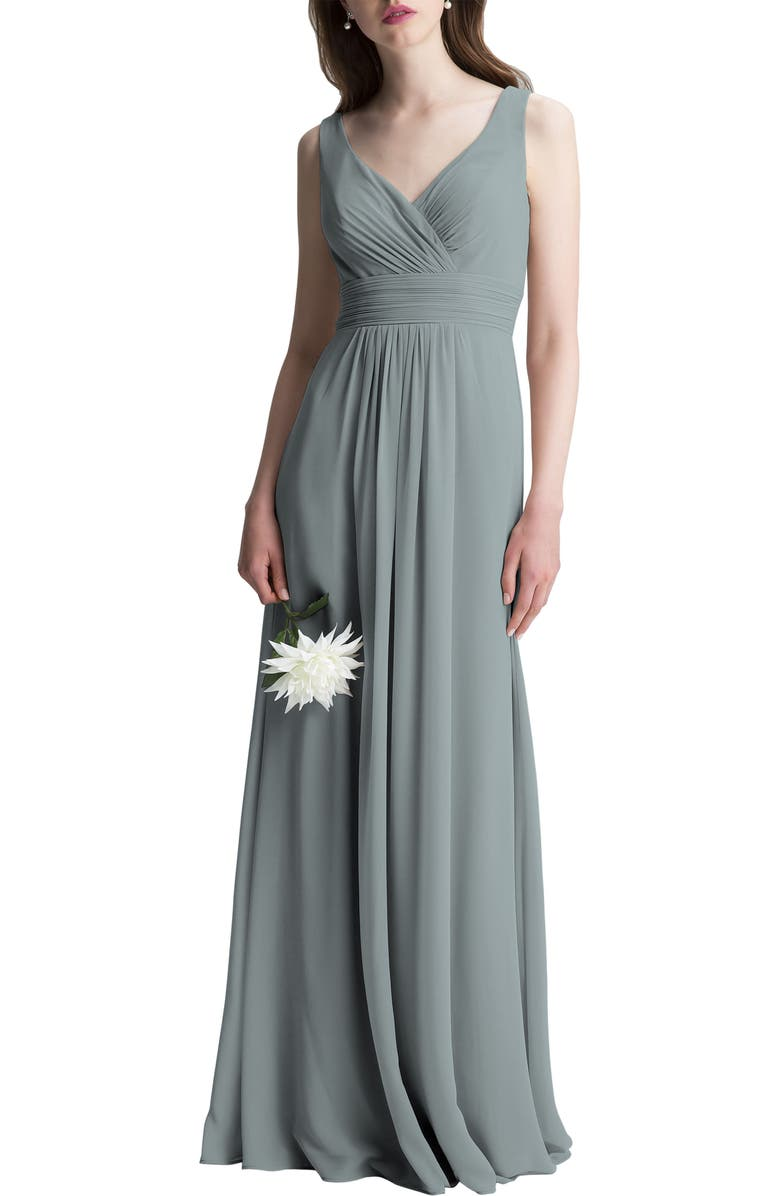 #LEVKOFF V-Neck Chiffon A-Line Gown, Main, color, 020