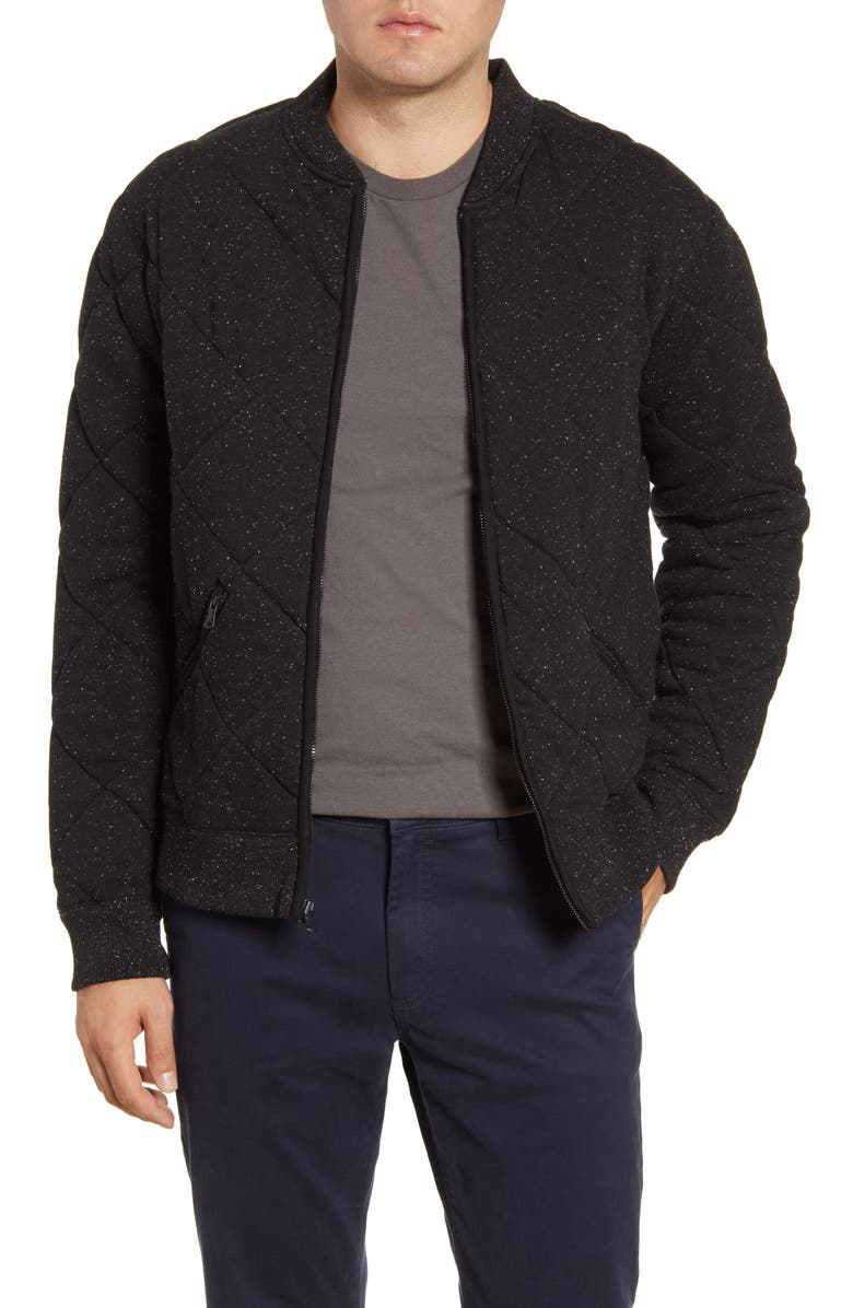 BONOBOS Slim Fit Quilted Bomber Jacket, Main, color, 001