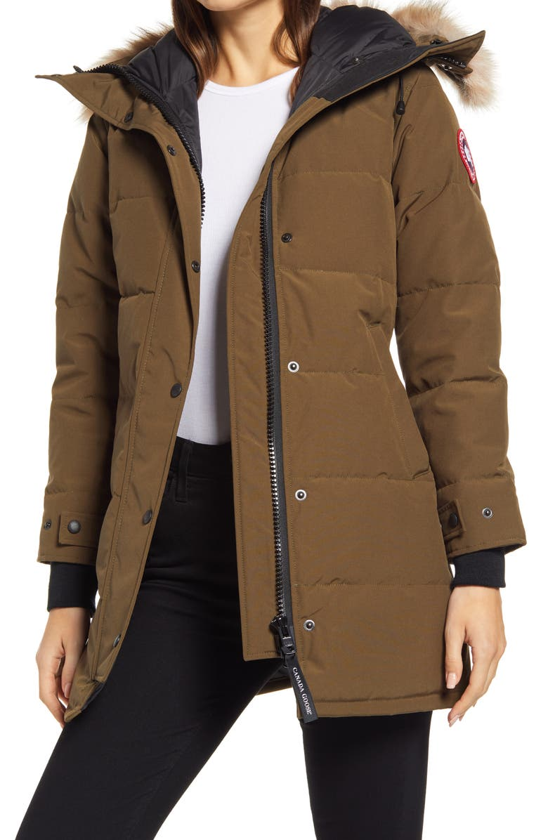 CANADA GOOSE Shelburne Fusion Fit Genuine Coyote Fur Trim Down Parka, Main, color, MILITARY GREEN
