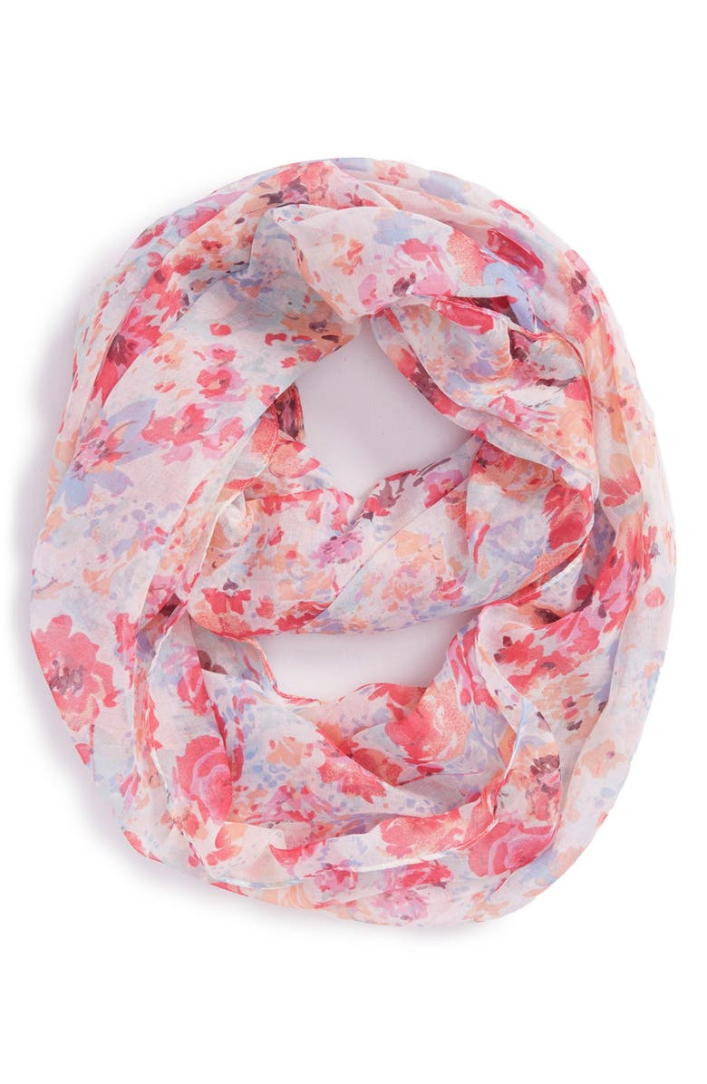 BP. 'Floral Blurred' Print Infinity Scarf, Main, color, 660