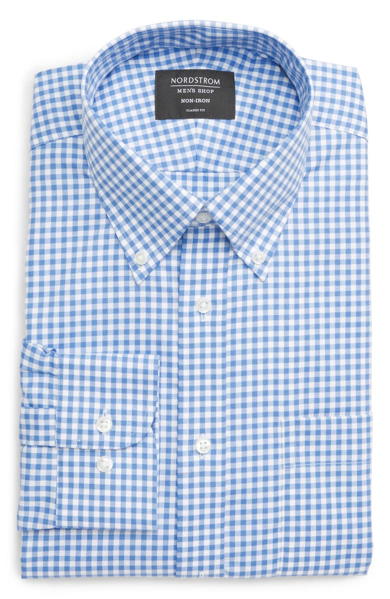 NORDSTROM Classic Fit Non-Iron Gingham Dress Shirt, Main, color, BLUE BELL