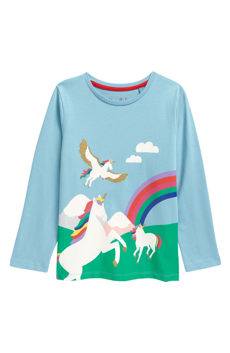 MINI BODEN Kids' Unicorn Long Sleeve Graphic Tee, Main, color, 454