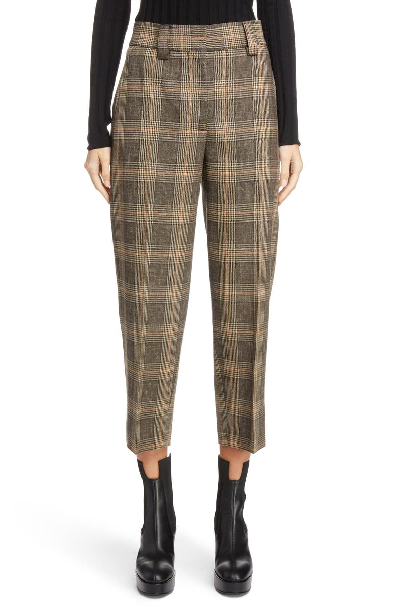 ACNE STUDIOS Check Crop Suit Pants, Main, color, 200