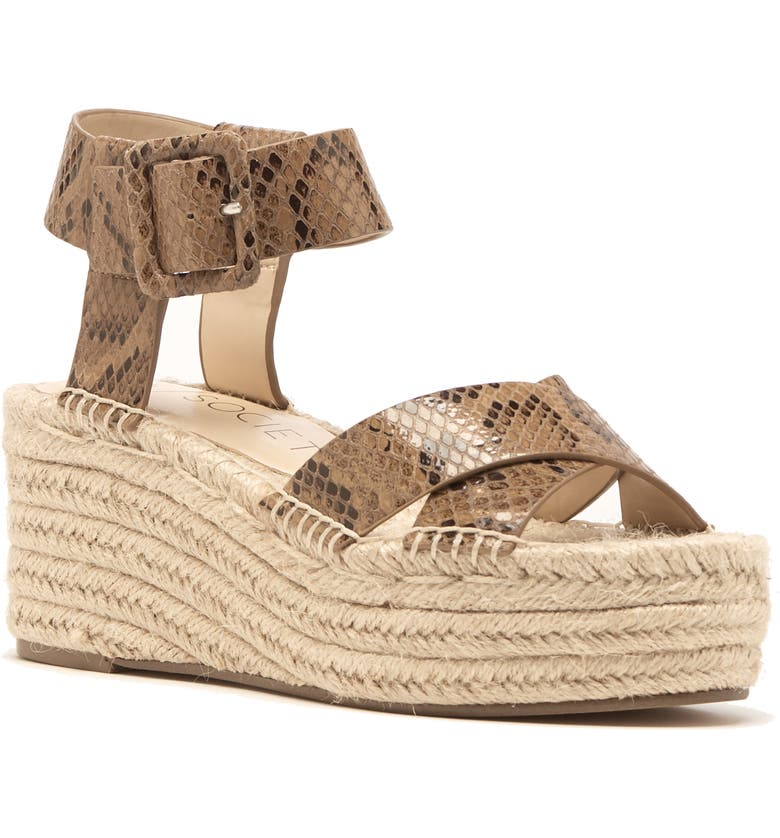 SOLE SOCIETY Audrina Platform Espadrille Sandal, Main, color, LIGHT BROWN LEATHER