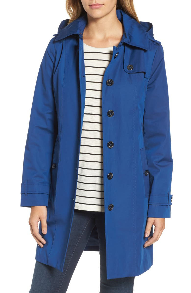 MICHAEL MICHAEL KORS Core Trench Coat with Removable Hood & Liner, Main, color, SAPPHIRE